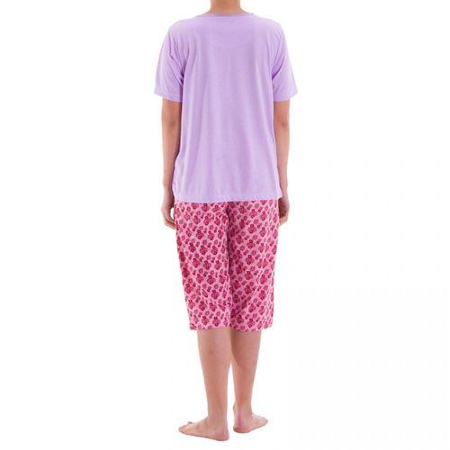 Zeitlos - Pyjama Schlafanzug Capri Ruby mit sommerlichen Blumendruck und Stickerei – Bild 6