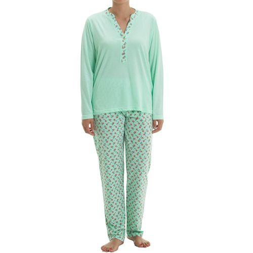 Zeitlos - Pyjama Set Nora langarm mit Knopfleiste und Blütendruck am Kragen und Hose – Bild 3