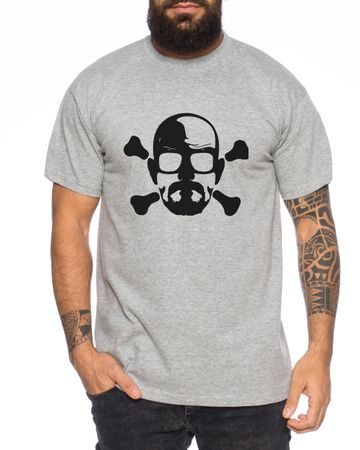 Bad Heisenberg Skull White Meth Walter Crystal Breaking tv serie Men's T-Shirt – Bild 1
