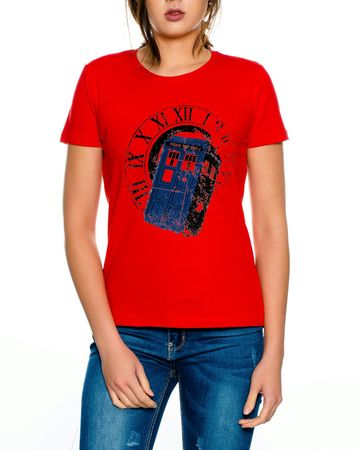 Doctor Rom Line Who Box time police space dr tv Women T-Shirt – Bild 3