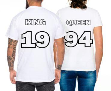 Partnerlook Couple T-Shirt Set King Queen 1990-2017 – Bild 5