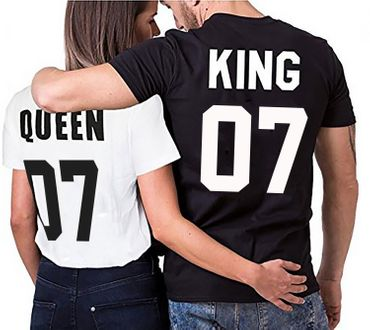 Partnerlook Couple T-Shirt Set King Queen for couples as a gift in different colors S-4XL