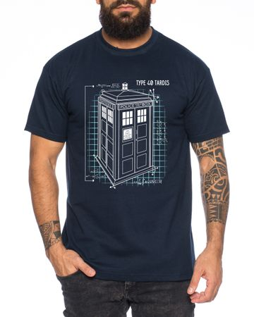Blaupause Doctor UK Who Space Box dalek dr police doctor Men's T-Shirt – Bild 2