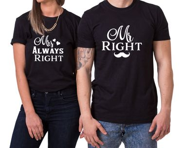 Mr Right Mrs always Right King Queen Partnerlook Couple T-Shirt Set Mouse – Bild 1