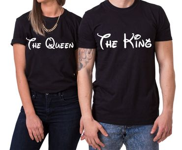 The King The Queen Partner Look Pärchen Valentinstag T-Shirt Set – Bild 1