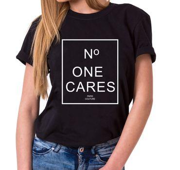 No One Cares Trendy Ladies T-Shirt Cotton with print – Bild 1