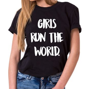 Girls run the World Trendy Ladies T-Shirt Cotton with print – Bild 1