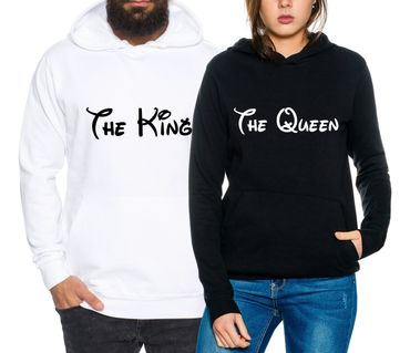 The King The Queen Partner Look Pärchen Valentinstag Hoodie – Bild 1