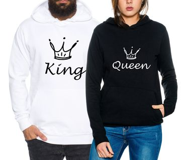 Fun King Queen Partnerlook Couple Hoodie Mouse – Bild 1