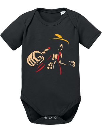 Elastic Ruffy One Straw Hat Baby Proverbs Piece Romper Organic Cotton Bodysuit Boys & Girls 0-12 – Bild 2