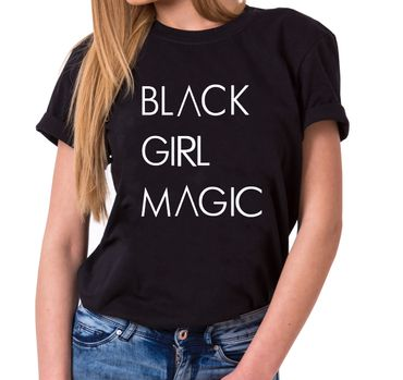 Black Girl Magic - Statement Shirts - Damen T-Shirt Rundhals - Sprüche Shirts – Bild 1