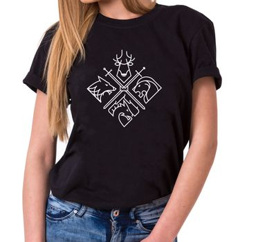 All coat of arms - Women's T-Shirt Crewneck Targaryen  thrones game of stark lannister baratheon Daenerys khaleesi tv blu-ray dvd  – Bild 1