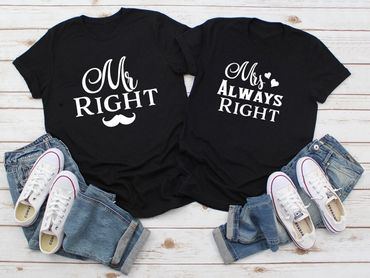Mr Mrs Right - Partner T-Shirt Ladies and Gentlemen - 2 Pieces - Couple Shirt Gift Set for Lovers - Partner Gifts - Best Birthday Gift - Partner Look – Bild 2