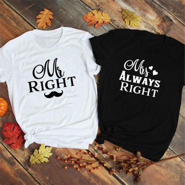 Mr Mrs Right - Partner T-Shirt Ladies and Gentlemen - 2 Pieces - Couple Shirt Gift Set for Lovers - Partner Gifts - Best Birthday Gift - Partner Look – Bild 3