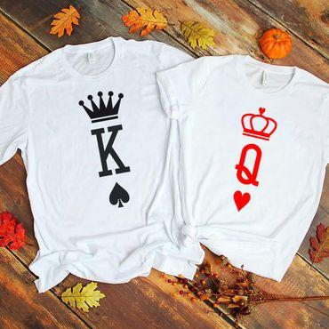 King Queen Herz - Partner T-Shirt Ladies and Gentlemen - 2 Pieces - Couple Shirt Gift Set for Lovers - Partner Gifts - Best Birthday Gift - Partner Look – Bild 2