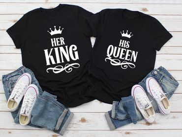 Her King His Queen - Partner T-Shirt Ladies and Gentlemen - 2 Pieces - Couple Shirt Gift Set for Lovers - Partner Gifts - Best Birthday Gift - Partner Look – Bild 2