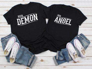 Demon Angel - Partner-T-Shirt Damen und Herren – 2 Stück - Couple-Shirt Geschenk Set für Verliebte – Partner-Geschenke – Bestes Geburtstagsgeschenk – Partnerlook  – Bild 2