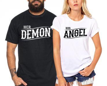 Demon Angel - Partner T-Shirt Ladies and Gentlemen - 2 Pieces - Couple Shirt Gift Set for Lovers - Partner Gifts - Best Birthday Gift - Partner Look – Bild 1