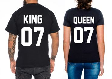 Partnerlook Couple T-Shirt Set King Queen – Bild 3