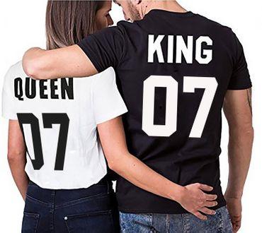 Partnerlook Couple T-Shirt Set King Queen – Bild 1