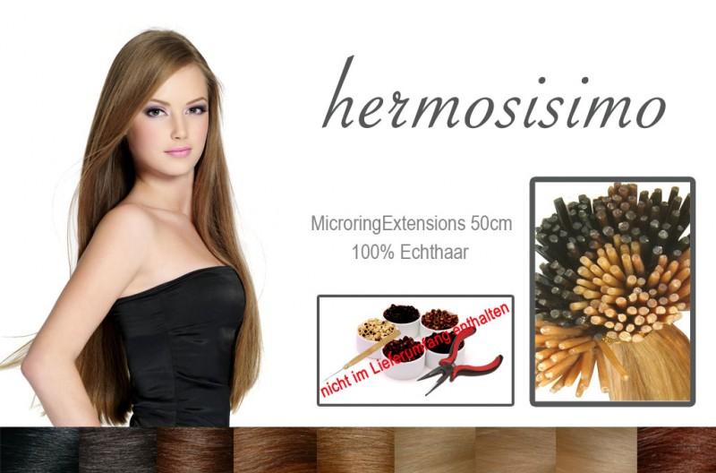 25 Echthaarsträhnen 50cm 0,5 Gr Haarverlängerung MicroringExtensions – Bild 1