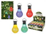 Farbige Kunststoff-Glühbirne mit Solarzelle & LED, zum Aufhängen, ca. 10 x 5 cm, 4-farbig sortiert, 20 Stück im Aufsteller