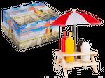 Gewürzhalter, Holz-Picknicktisch II, mit Sonnenschirm, Kunststoff-Salz- & Pfefferstreuer, Senf- & Ketchup-Flasche