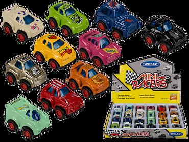 Mini-Modellauto mit Rückziehmotor, Racer, aus Metall mit Kunststoff, ca. 3 cm, 24 Stück im Display