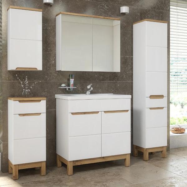 Badmöbel Set Badezimmerschrank Waschbecken 6 tlg Waschtisch 80cm Spiegelschrank Weiß Hochglanz