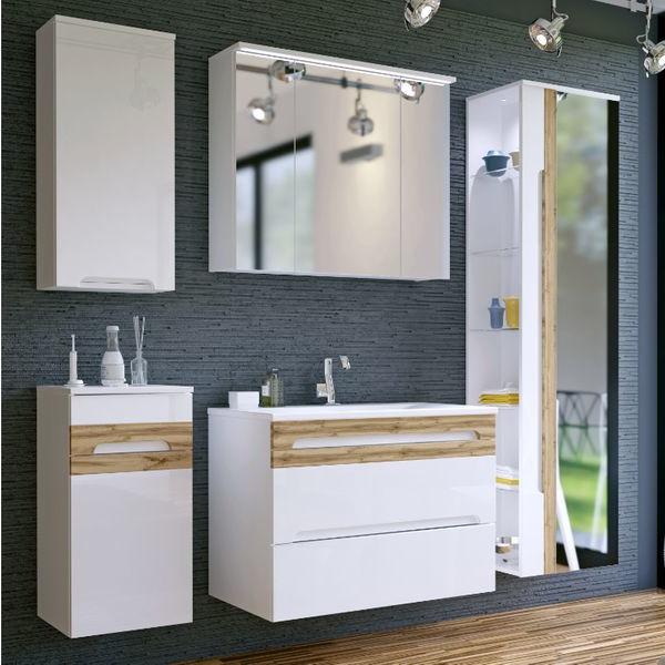 Badmöbel Set Badezimmerset 6 tlg Waschtisch 80cm Spiegelschrank Hängend Weiß