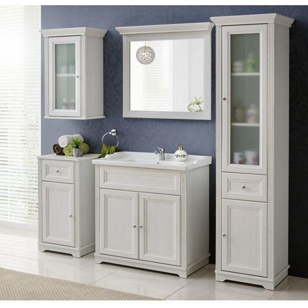 Badmöbel Set Badezimmer 6 tlg Waschbecken Spiegel Unterschrank Hochschrank Weiß Landhaus
