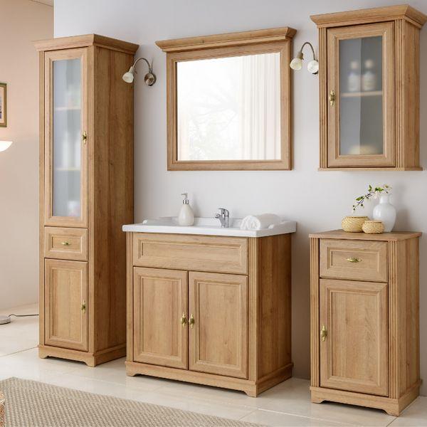 Badmöbel Set Badezimmer 6 tlg Waschbecken Unterschrank Spiegel Riviera Eiche