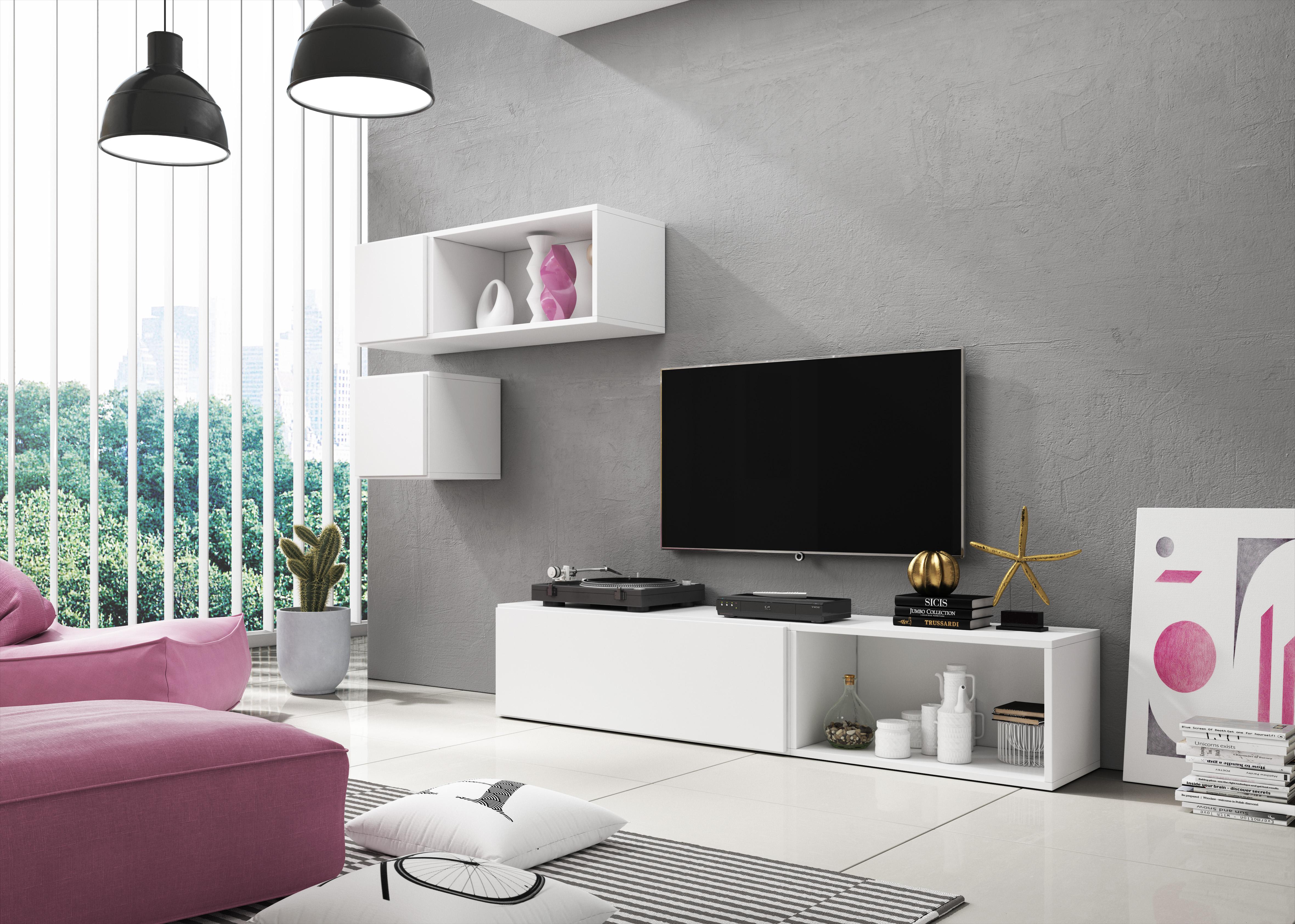 Wohnwand Matt Cube Wohnkombination Fernsehschrank Hängeschrank individuell