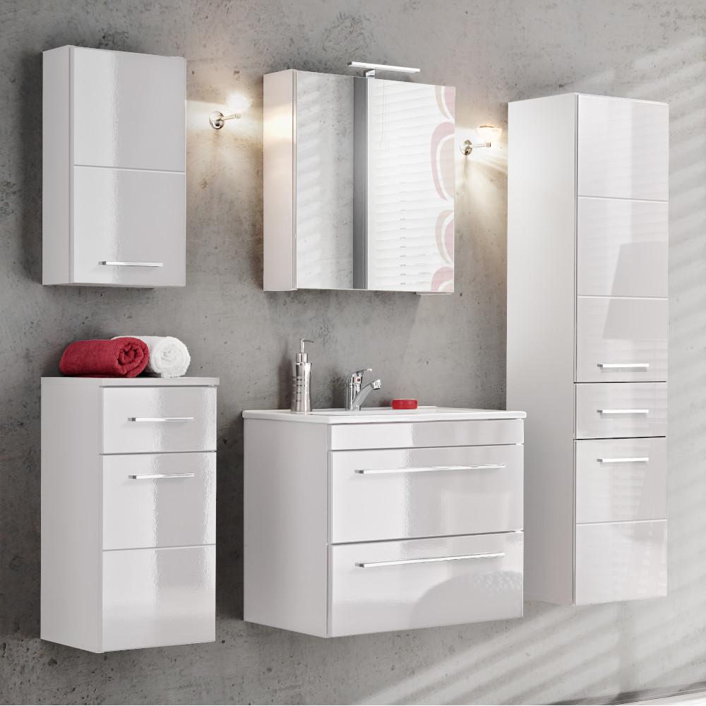Badmöbel Set Badezimmerset 6 tlg Waschtisch 60cm Weiß Grau Graphit Hochglanz