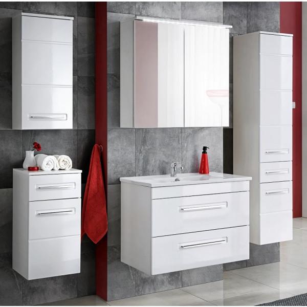 Badmöbel Set Badezimmerschrank 6 tlg Waschbecken 80cm Spiegel Waschtisch Hochglanz Weiß