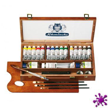 Mussini Ölfarbe Schmincke großer Holzkasten, 15 x 35ml + 120ml weiß und viel Zubehör