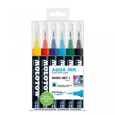 MOLOTOW GRAFX Aqua Ink Marker 6er Basic-Set 1