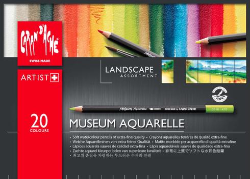 Caran d´Ache MUSEUM Aquarellstifte - 20 Farben im Set - Landschaft
