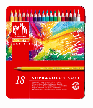 Caran d´Ache SUPRACOLOR SOFT - 18 Aquarellfarbstifte in Metallschachtel