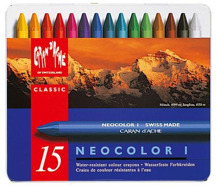 Caran d´Ache Künstlerkreide NEOCOLOR I - 15 Farben im Metalletui