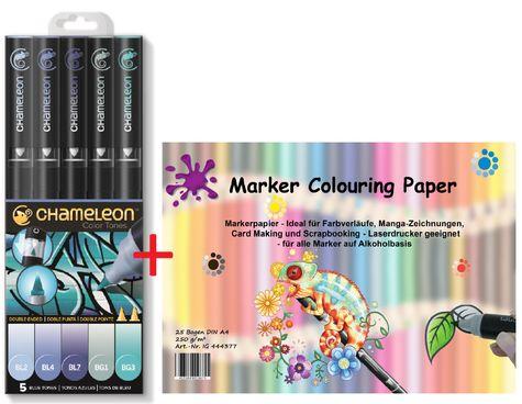 -WeihnachtsAktion- Chameleon Pens 5er Set - Blau Töne + Markerpapier – Bild 1