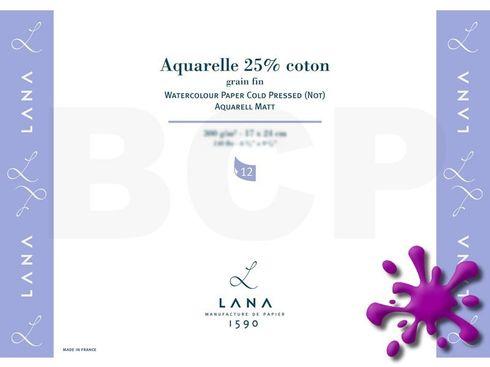Lana Aquarelle matt 25% Coton 300g/m², 24x32cm, 12 Blatt – Bild 1