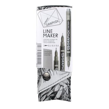 Derwent Graphik Line Maker, Fineliner Set 0,1/0,3/0,5, graphit grau