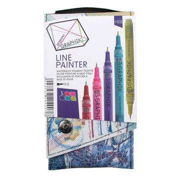 Derwent Graphik Line Painter, farbiges Fineliner Set Nr. #03