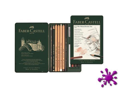 Faber-Castell Pitt Monochrome Set, klein im Metalletui 12-teilig – Bild 2