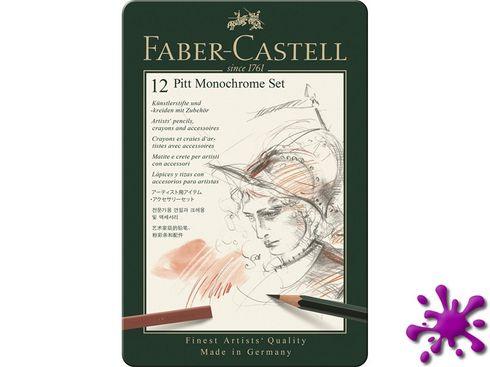 Faber-Castell Pitt Monochrome Set, klein im Metalletui 12-teilig – Bild 1