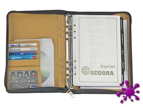 Ecobra 611827 - Organizer Elite schwarz mit Applikation DIN A6 Rundum-Reißverschluss