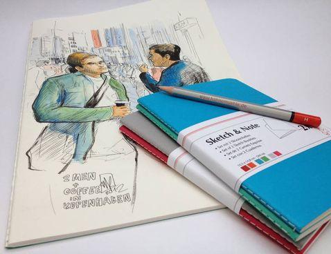 Hahnemühle SKETCH & NOTE, 20 Blatt, 125g, 2 Booklets, Blue, DIN A5 – Bild 1