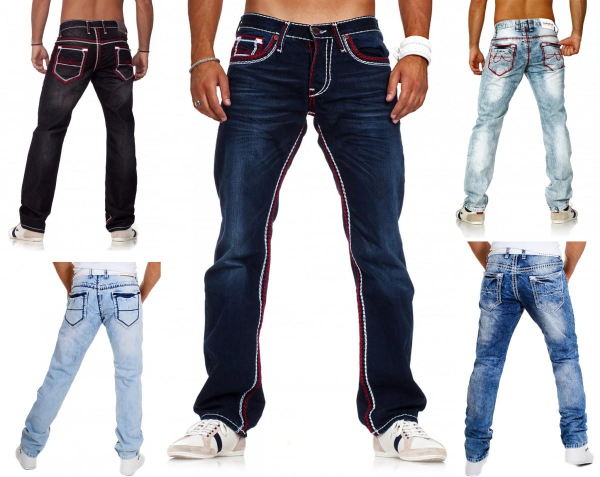 Herrenmode Jeans Verantwortlich John Devin Hose Herren Jeans Denim Rot Länge 36 Trendhose Designerhose Sale