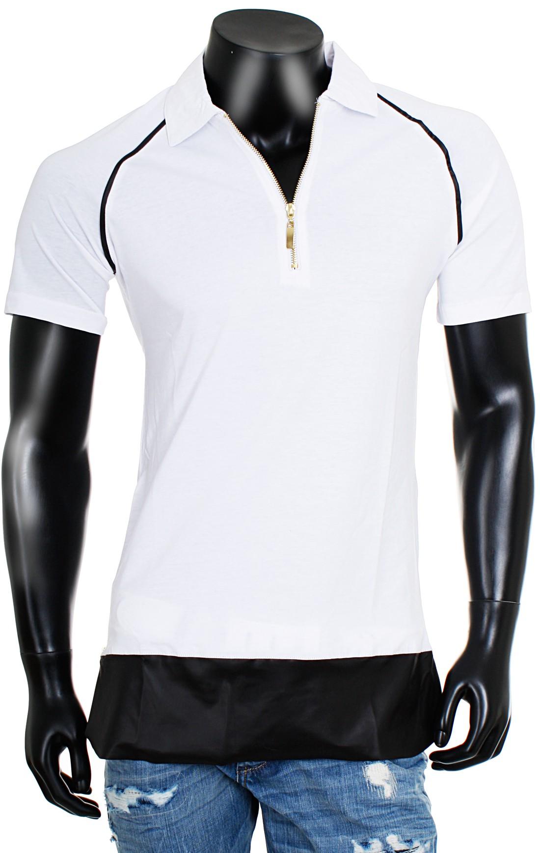young rich oversized herren t shirt lang long tee mit zip rei verschluss polo kragen slim fit. Black Bedroom Furniture Sets. Home Design Ideas